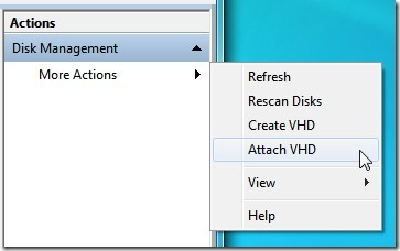 Attach VHD with Disk Management