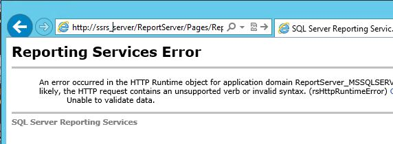 SSRS SQL Reporting Services Error. Unable to validate data