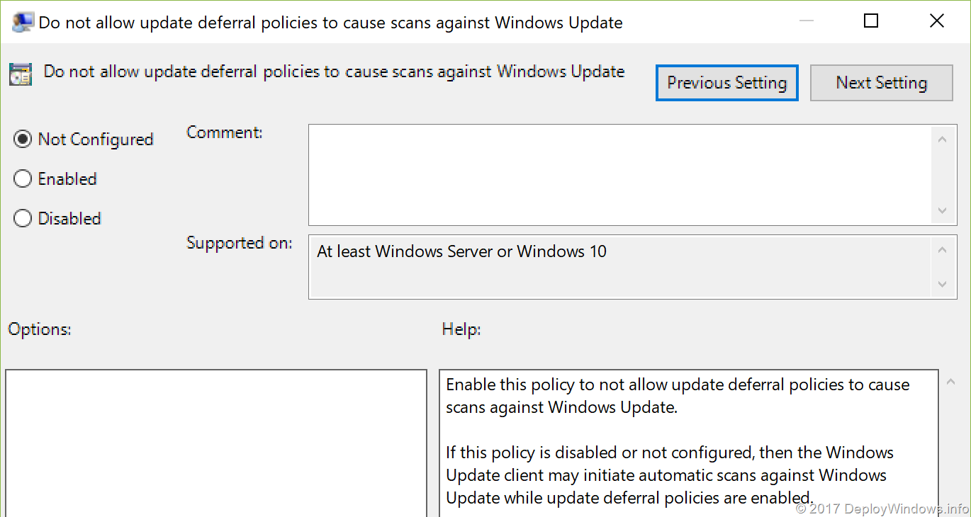 Do not allow update deferral policies to cause scans against Windows Update