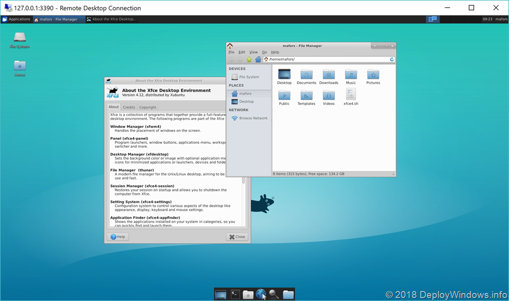 How to run Linux desktop environment with Linux subsystem for