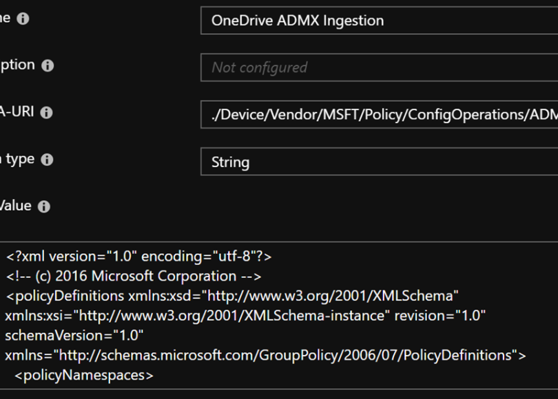 Ingest OneDrive group policies, manage settings in an