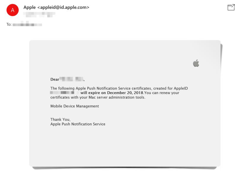 Apple Push Notification Service certificate expiration